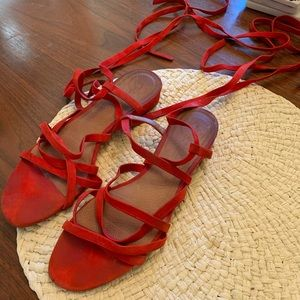 Madewell red laceup sandals
